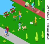 isometric people training dogs... | Shutterstock .eps vector #649062124