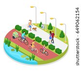 isometric city park composition ... | Shutterstock .eps vector #649062154