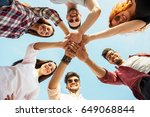 group of young people standing... | Shutterstock . vector #649068844