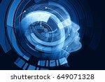 human robot with digital blue... | Shutterstock . vector #649071328