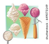 set of watercolor ice creams in ... | Shutterstock .eps vector #649073149