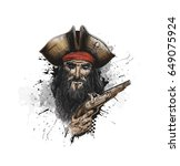 brave pirate with pistol  hand... | Shutterstock .eps vector #649075924