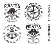 set of four pirates vintage... | Shutterstock .eps vector #649076038