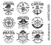 pirates set of vector vintage... | Shutterstock .eps vector #649076050