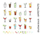 popular alcoholic cocktails and ... | Shutterstock .eps vector #649079470