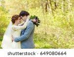 happy bride and groom after... | Shutterstock . vector #649080664