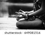 woman in a meditative yoga... | Shutterstock . vector #649081516