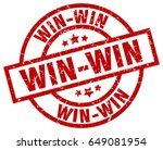 win win round red grunge stamp | Shutterstock .eps vector #649081954