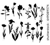 vector silhouette flowers  rose ... | Shutterstock .eps vector #649089574