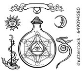 set of alchemical symbols. a... | Shutterstock .eps vector #649094380