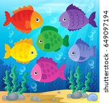 stylized fishes theme image 2   ... | Shutterstock .eps vector #649097194