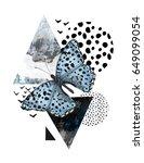 summer geometric poster design. ... | Shutterstock . vector #649099054