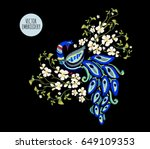 embroidery oriental floral... | Shutterstock .eps vector #649109353