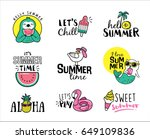 set of summer icons and design... | Shutterstock .eps vector #649109836