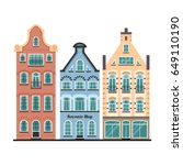set of 3 amsterdam old houses... | Shutterstock .eps vector #649110190