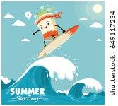 vintage surfing poster design... | Shutterstock .eps vector #649117234