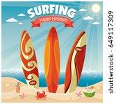 vintage poster beach design... | Shutterstock .eps vector #649117309