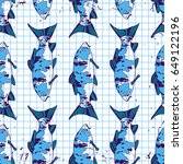 tropical fish seamless pattern... | Shutterstock .eps vector #649122196