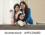 portrait of happy three... | Shutterstock . vector #649124680