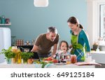 dad  mom and their little... | Shutterstock . vector #649125184