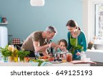 dad  mom and their little... | Shutterstock . vector #649125193