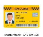taxi license symbol vector... | Shutterstock .eps vector #649125268
