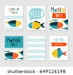 set of 6 cute creative cards... | Shutterstock .eps vector #649126198