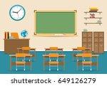empty classroom vector... | Shutterstock .eps vector #649126279
