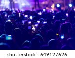 hand with a smartphone records... | Shutterstock . vector #649127626