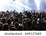 hand with a smartphone records...   Shutterstock . vector #649127683