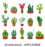 big set of cute cartoon cactus...   Shutterstock .eps vector #649133806