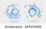 ice cube and water splashing... | Shutterstock .eps vector #649134400