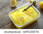 lemon frozen granita slush... | Shutterstock . vector #649134574