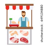 the seller of meat in a butcher'... | Shutterstock .eps vector #649134880
