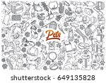 hand drawn pets doodle set... | Shutterstock .eps vector #649135828