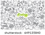 hand drawn ecology doodle set... | Shutterstock .eps vector #649135840