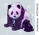 colorful card with funny panda.  | Shutterstock .eps vector #649136218
