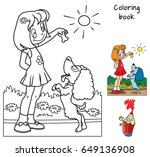 little girl playing with a dog. ... | Shutterstock .eps vector #649136908