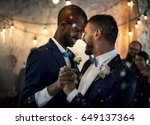 newlywed gay couple dancing on... | Shutterstock . vector #649137364