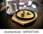 egg omelette and coffe on... | Shutterstock . vector #649147144