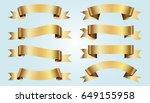 set of golden ribbons on blue...   Shutterstock .eps vector #649155958