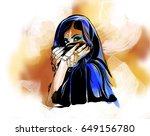 arabic woman portrait on... | Shutterstock .eps vector #649156780