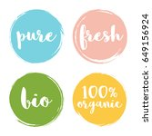 set of circle hand drawn badges.... | Shutterstock .eps vector #649156924