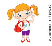 cute school girl with a... | Shutterstock .eps vector #649164160