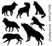 wolf silhouette set. vector...