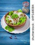 fresh hake on wooden background   Shutterstock . vector #649168084