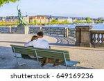 romantic happy couple sitting...   Shutterstock . vector #649169236