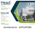 blue and green flyer cover... | Shutterstock .eps vector #649169386