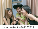 asian younger woman singing... | Shutterstock . vector #649169719