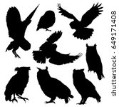 Owl Silhouette Set. Vector...